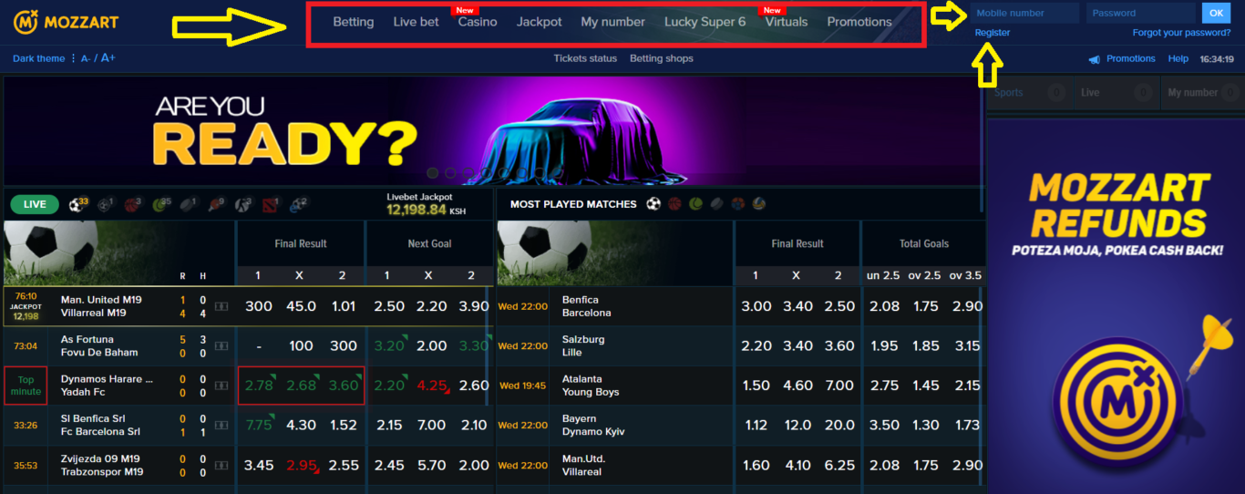 Mozzart bet Kenya register via website